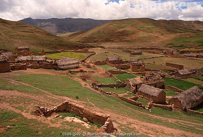 Quechua settlement and fields, Vilacayma, up in the Andes, Bolivia, South America, ANDEAN,BUILDINGS,CULTURES,HIGHLANDS,HOMES,HOUSES,LANDSCAPES,MOUNTAINS,PEOPLE,POPULATION,SETTLEMENT,SOUTH AMERICA,TRADITIONAL,TRIBES,VILLAGES,SOUTH-AMERICA, Martin Dohrn