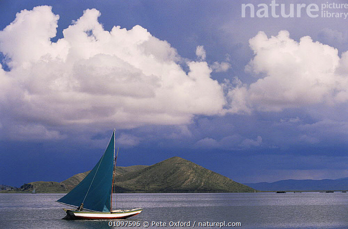 Modern fishing boat on Lake Titicaca, Boliva, replacing traditional Totora reed boats, BOATS,CLOUDS,LAKES,MODERN,SAILING,SOUTH AMERICA,TRADITIONAL,WATER,WETLANDS,Weather,SOUTH-AMERICA, Pete Oxford