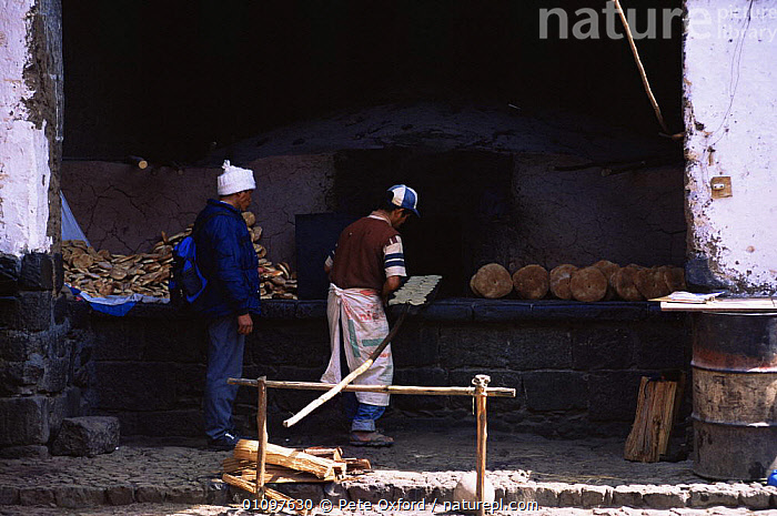 Local bread bakery at Pisac, Highlands, Peru, South America, BAKERY,BREAD,HIGHLANDS,OVEN,PEOPLE,SHOPS,SOUTH AMERICA,TRADE,WORKING,SOUTH-AMERICA, Pete Oxford