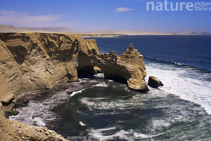 Le Catedral rock formation, Paracas NP, Peru, South America, CLIFFS,COASTAL WATERS,COASTS,EROSION,LANDSCAPES,MARINE,NP,RESERVE,ROCK FORMATIONS,ROCKS,SEA,SOUTH AMERICA,WAVE EROSION,WAVES,Geology,National Park,SOUTH-AMERICA, JIM CLARE