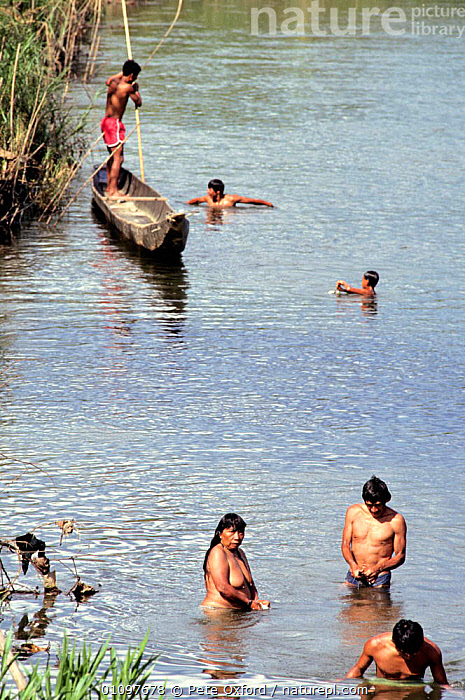 Huaorian indians fishing in river using dynamite,  Dayuno, Ecuadorian Amazon, South America, AMAZONIA,AQUATIC,BOATS,CULTURES,ECUADOR,FAMILIES,FISH,FISHING,FRESHWATER,GROUPS,HUNTING FOOD,PEOPLE,RIVERS,SOUTH AMERICA,TRADITIONAL,TRIBES,TROPICAL,VERTICAL,WATER,SOUTH-AMERICA, Pete Oxford
