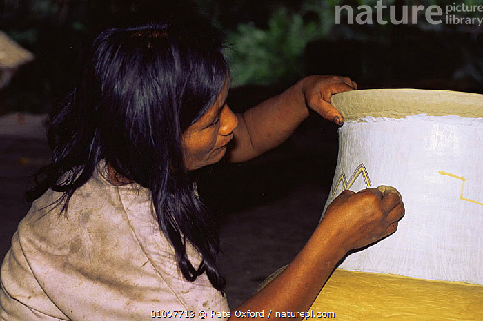 Zaparo indian woman painting ceramic pot, Llanchamacocha, Ecuadorian Amazon South America, CULTURES,HORIZONTAL,PEOPLE,SOUTH AMERICA,TRADITIONAL,TRIBES,WOMAN, Pete Oxford