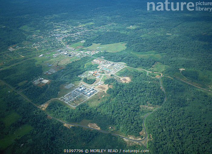 Petroleum production station at Shushufindi, Amazonian Ecuador, AERIALS,BUILDINGS,CRUDE OIL,DEFORESTATION,HORIZONTAL,INDUSTRY,LANDSCAPES,SOUTH AMERICA,TROPICAL,TROPICAL RAINFOREST, MORLEY READ