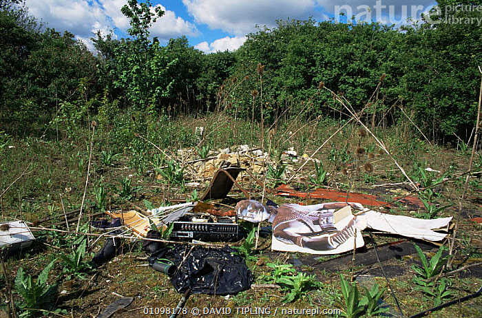 Rubbish dumped on wasteland in countryside Kent, UK  ,  COUNTRYSIDE,ENGLAND,EUROPE,HORIZONTAL,POLLUTION,REFUSE,UK,United Kingdom,British  ,  DAVID TIPLING