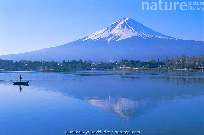 Mount Fuji reflected in lake Kawaguchi Ko, Japan  ,  HORIZONTAL,LANDSCAPES,PEACEFUL,BOATS,BUILDINGS,MOUNTAIN,BOAT,SCENICS,MOUNTAINS,SNOW,TOWNS,VILLAGE,VILLAGES,SCENIC,REFLECTIONS,LAKES,TOWN,Concepts,Asia  ,  David Pike