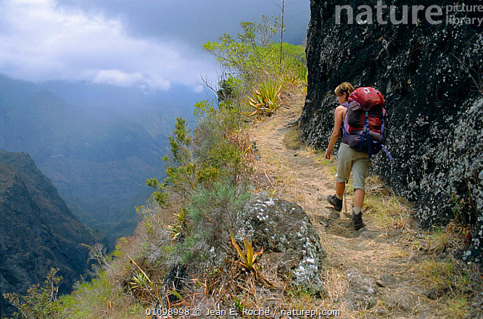 Hiker walking up path Mafate circus, La Reunion, Indian ocean  ,  LEISURE,INDIAN OCEAN ISLANDS,HIKING,PEOPLE,LANDSCAPES,PATHS  ,  Jean E. Roche