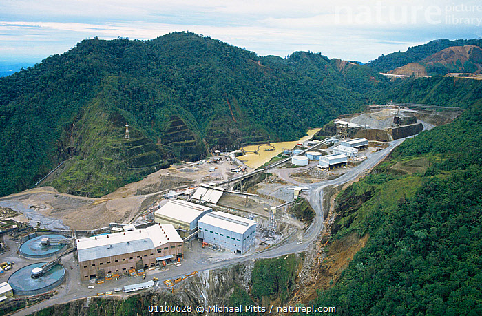 Aerial view of mine complex and process plant Oktedi mine, Star Mountains, Papua New Guinea  ,  ASIA,BUILDINGS,DEFORESTATION,HIGHLANDS,INDUSTRIAL,INDUSTRY,LANDSCAPES,MINERALS,MINING,MOUNTAINS,PAPUA NEW GUINEA,SOUTH EAST ASIA,WOODLANDS,WEST-AFRICA  ,  Michael Pitts