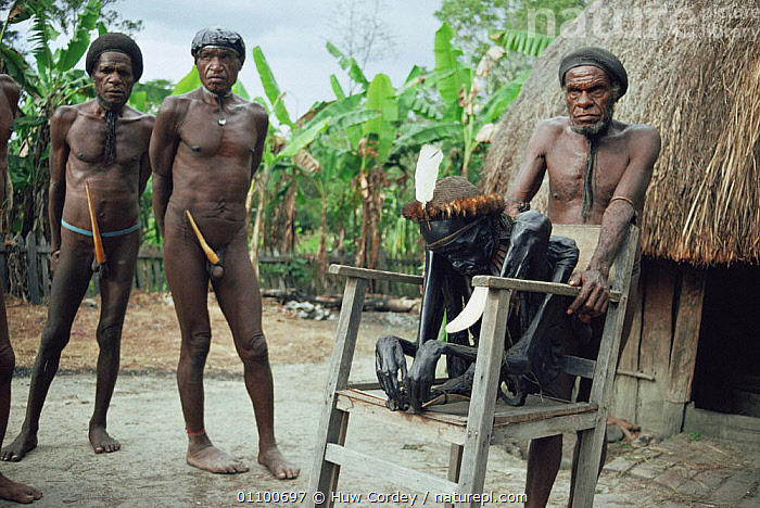 Dani tribe people with mummy, Balieum Valley, Irian Jaya / West Papua, New Guinea December 1991 (West Papua).  ,  ASIA,CULTURES,GROUPS,HORIZONTAL,PAPUA NEW GUINEA,PEOPLE,SOUTH EAST ASIA,TRADITIONAL,TRIBES  ,  Huw Cordey