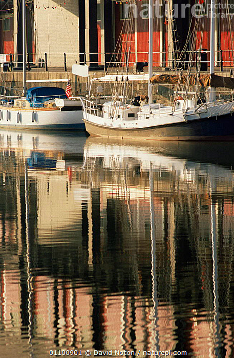 Waterfront docks Exhibition Centre reflected in Narrow Quay, Bristol, UK 1995  ,  BOATS,BUILDINGS,ENGLAND,EUROPE,LANDSCAPES,REFLECTIONS,UK,VERTICAL,WATER,United Kingdom,British, United Kingdom, United Kingdom  ,  David Noton