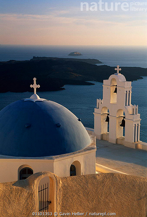 Greek orthodox Church dome, bells and roof,  Santorini island, The Cyclades, Greece, Europe  ,  AEGEAN,ARCHITECTURE,BELLS,BUILDING,BUILDINGS,CHRISTIAN,CHURCH,CHURCHES,COAST,COASTS,CONCEPTS,CROSS,CYCLADES,GHE,GREEK,HOLIDAYS,ISLAND,ISLANDS,LANDSCAPES,MEDITERRANEAN,ORTHODOX,RELIGON,ROCKS,ROOF,SEA,THIRA,TRAVEL,VERTICAL,Europe  ,  Gavin Hellier