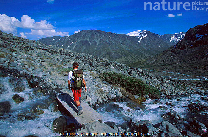 Tourist crossing mountain stream on way to Svellnosbreen glacier, Jotunheimen NP, Norway  ,  AHE,ALONE,DIGITAL,HIKER,HIKING,HORIZONTAL,INDEPENDENT,JOTUNHEIMEN,LANDSCAPE,LEISURE,MOUNTAIN,MOUNTAINS,NATIONAL PARK,NP,ONE,PEOPLE,PERSON,RESERVE,SCANDINAVIA,SCENIC,SCENICS,SNOW,STREAM,TOURISM,TOURIST,TRAVEL,WALKING,WILDERNESS,Europe, Scandinavia  ,  Asgeir Helgestad