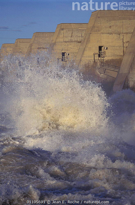 Water released from dam across Rhone river, Villabregues, Provence, France  ,  TURBULENCE,SPRAY,LANDSCAPES,GUSHING,POWER,RIVERS,SUSTAINABLE,RENEWABLE,DAMS,ENERGY,RUSHING,SPLASH,TURBULENT,Europe  ,  Jean E. Roche