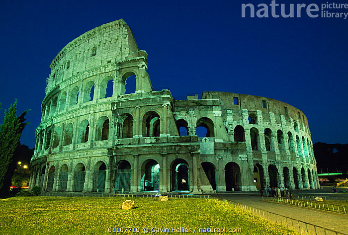 The Colosseum floodlit at night, Rome, Italy  ,  ANCIENT,ATTRACTION,CAPITAL,CITIES,CITY,CIVILISATION,COLOSSEUM,DUSK,EVENING,FAMOUS,GHE,HORIZONTAL,LANDMARK,LANDSCAPES,LIGHTS,NIGHT,OLD,REMAINS,ROMAN,ROME,TOURIST,TRAVEL,Europe  ,  Gavin Hellier