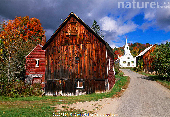 Nature Picture Library - Barn and Church in Waits River, Vermont