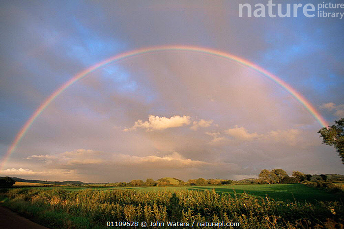 Complete rainbow over Somerset levels, UK, ENGLAND,EUROPE,LANDSCAPES,RAINBOWS,UK,United Kingdom,Weather,British, John Waters