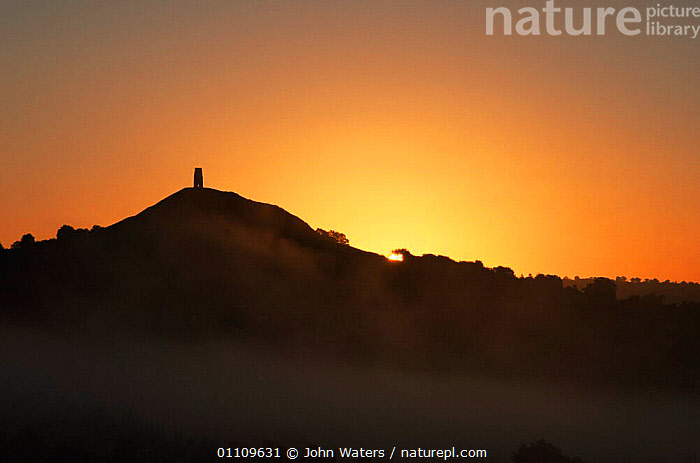 Glastonbury Tor just before sunrise, Somerset, UK, DAWN,ENGLAND,EUROPE,LANDSCAPES,SILHOUETTES,SUNRISE,UK,United Kingdom,British, John Waters