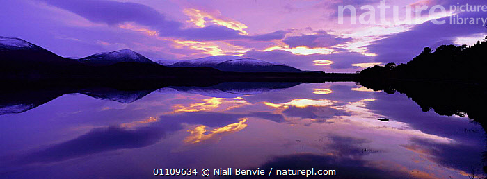 Loch Morlich at sunset Inverness-shire, Scotland, UK, LANDSCAPES,PANORAMIC,REFLECTIONS,LAKES,SCENICS,EUROPE,SCOTLAND, Niall Benvie