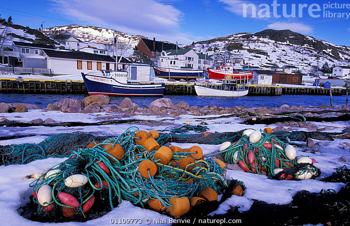 Fishing boats and nets, Petty harbour, Newfoundland, Canada, WINTER,VILLAGES,TOWNS,SNOW,COASTS,BUILDINGS,FISHERIES,NORTH AMERICA,NORTH,AMERICA,LANDSCAPES ,CANADA, Niall Benvie