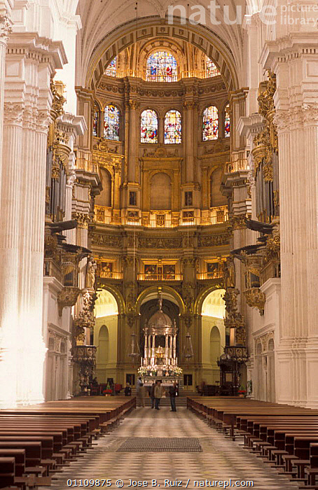 Interior of Granada cathedral, Andalucia, Spain, CHURCH,CHRISTIAN,PEOPLE,ORNATE,RELIGION,LANDSCAPES,CATHOLIC,ARTIFACTS,TOURISM,BUILDINGS ,CHURCHES,Europe, Jose B. Ruiz