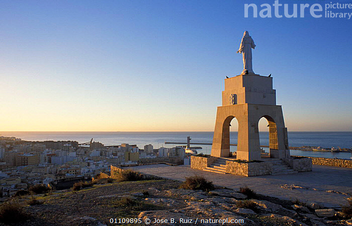 Statue of Christ overlooking Mirador, Cerro san Cristobal, Almeria, Andalucia, Spain, TOWNS,RELIGION,LANDSCAPES,COASTS,ARTIFACTS,CITIES,RELIGIOUS,Europe, Jose B. Ruiz