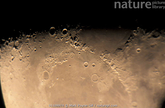 Close up of NE quadrant of 21-day-old waning moon. Last quarter, HORIZONTAL,CLOSE UPS,CRATERS,SKIES, Mark Payne-Gill