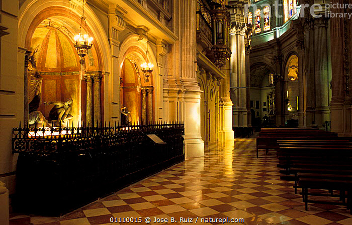 Interior of Malaga cathedral, Andalucia, Spain, BUILDINGS,CHURCHES,TOMBS,CHRISTIAN,TOMB,LANDSCAPES,RELIGION,STATUE,Europe, Jose B. Ruiz