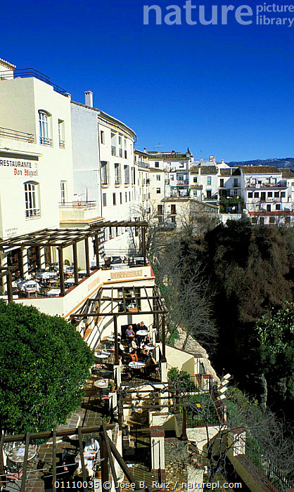 People eating on balconies of houses in hilltop village, Ronda, Andalucia, Spain, TOP,SUMMER,LANDSCAPES,BUILDINGS,FOOD,VILLAGES,CLIFFS,Geology,Europe, Jose B. Ruiz