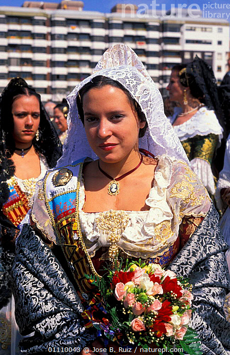 Woman in traditional costume with flower offerings, Fallas Valencia Festival 2003, Spain, PEOPLE,LANDSCAPES,FLOWERS,Europe, Jose B. Ruiz
