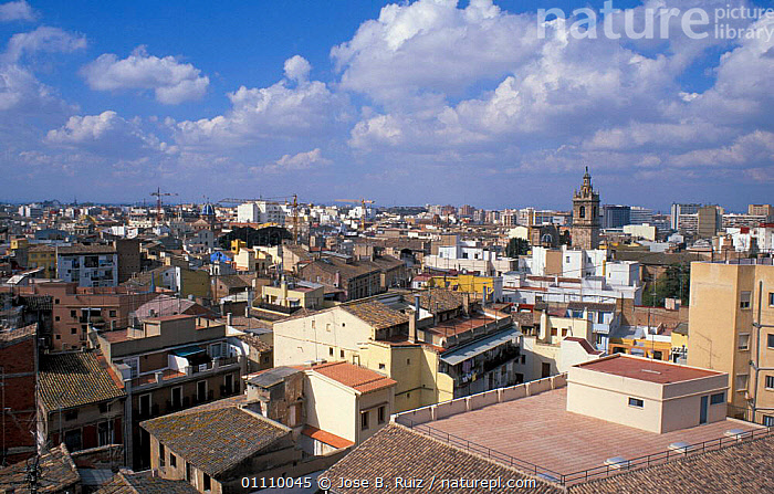 View over rooftops of Valencia, Spain, ROOFS,LANDSCAPES,BUILDINGS,CITIES,Europe, Jose B. Ruiz