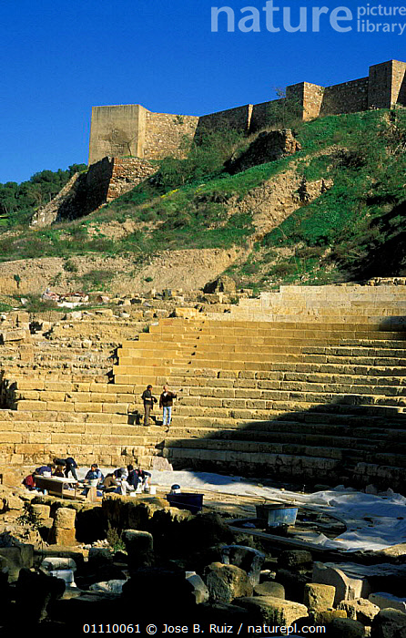 Roman amphitheatre, Malaga, Andalucia, Spain, ANCIENT,BUILDINGS,TOURISM,LANDSCAPES,PEOPLE,Europe, Jose B. Ruiz