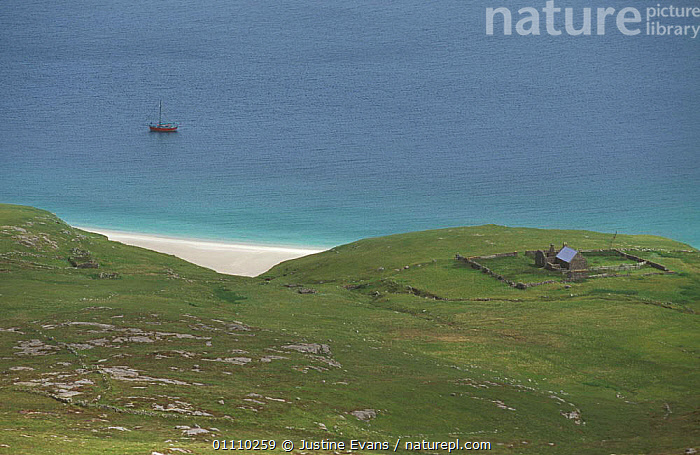 Mingulay Is with isolated house and boat moored, Outer Hebrides, Scotland, UK, LANDSCAPES,HORIZONTAL,EUROPE,COASTS,BOATS,BEACHES,BUILDINGS,SCOTLAND, United Kingdom, United Kingdom, United Kingdom, Justine Evans