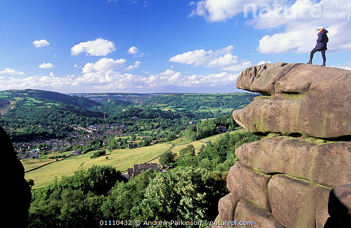 View from Black rocks over Cromford and Matlock, Derbyshire, UK, EUROPE,SCENICS,HIKER,LANDSCAPES,PEOPLE,SCENIC,LEISURE,ROCK FORMATIONS,HIKING,VALLEY,LANDSCAPE,VILLAGES,GEOLOGY,ENGLAND, Andrew Parkinson