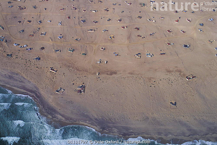 Aerial view of settlement, nr Swakomund, Namibia, BEACHES,BUILDINGS,COASTS,DESERT,DESERTS,HOUSES,LANDSCAPES,SOUTHERN AFRICA,VILLAGES ,AERIALS, Pete Oxford