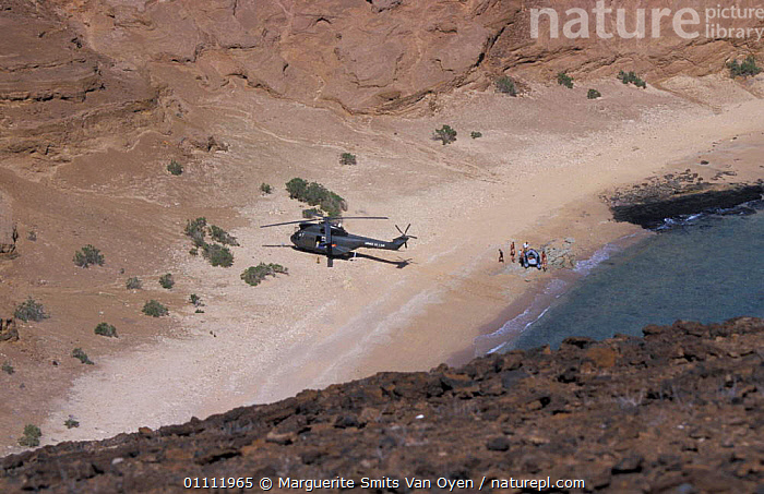French army arriving by helicopter on Seven Brothers Is, Djibouti, East Africa  ,  BEACHES,COAST,AERIAL,COASTAL,LANDSCAPES,EXPEDITION,ISLANDS,SEA,VIEW,COASTS,LANDSCAPE,VEHICLES ,AERIALS,EAST-AFRICA,Africa  ,  Marguerite Smits Van Oyen