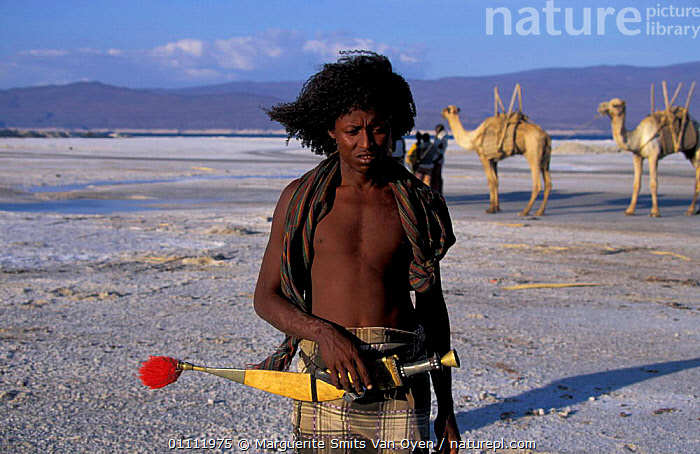 Afar tribesman mining salt, Lac Assal, Djibouti, East Africa. 150m below sea level. sea water  ,  CAMEL,LANDSCAPES,LAKES,KNIFE,MINERALS,LEVEL,HORIZONTAL,VERTICAL,TRADITIONAL,TRIBES,PORTRAITS,PEOPLE,EAST-AFRICA,Africa  ,  Marguerite Smits Van Oyen