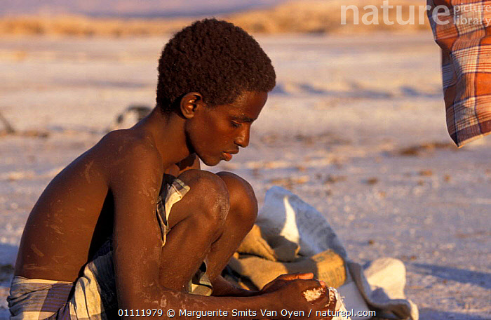 Afar tribesmen mining salt, Lac Assal, Djibouti, East Africa. 150m below sea level. Sea water seeps through into lake and evaporates.  ,  MINERALS,LEVEL,HORIZONTAL,TRADITIONAL,TRIBES,PEOPLE,EAST-AFRICA,Africa  ,  Marguerite Smits Van Oyen