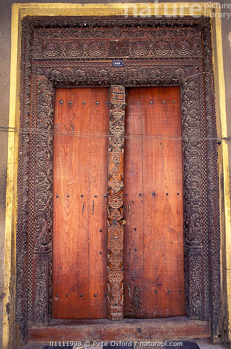 Ornate carved studded door. Stone Town, Zanzibar, Tanzania  ,  AFRICA,DOOR,LANDSCAPES,TRADITIONAL,BUILDINGS,EAST-AFRICA  ,  Pete Oxford