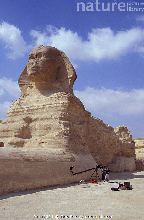 The Sphinx, Cairo, Egypt with BBC NHU film unit  ,  AFRICA,ANCIENT,ARTIFACTS,CAMERA,CITIES,DESERT,DESERTS,FILMING,LANDMARK,LANDSCAPE,LANDSCAPES,PEOPLE,PYRAMIDS,NORTH-AFRICA  ,  Dan Rees