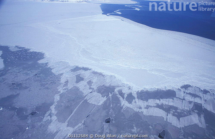 Aerial view of sea ice, spring, Svalbard, Norway. Open sea (top) solid white ice floe (middle)  ,  AERIAL,AERIAL,BOTTOM,INTERESTING,LANDSCAPE,LANDSCAPES,MIDDLE,RAFTED,REFORMED,SHEETS,THIN,TOP ,AERIALS,Europe, Scandinavia,Polar, Arctic  ,  Doug Allan
