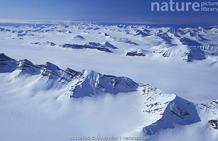 Mountains and inland ice sheets of Svalbard, Norway  ,  AERIAL,ARCTIC,LANDSCAPE,LANDSCAPES,SCANDINAVIA,SNOW ,AERIALS,Europe, Scandinavia, Scandinavia  ,  Doug Allan