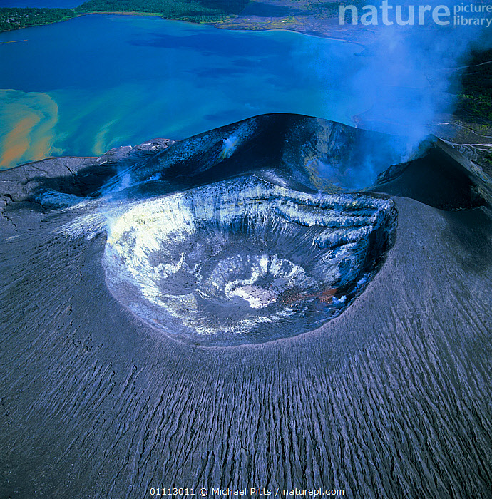 Aerial view of Tuvurvur volcano, East New Britain, Papua New Guinea  ,  VOLCANOES,LANDSCAPE,ASIA,STEAM,AERIAL,CRATER,VERTICAL,PAPUA NEW GUINEA,SOUTH EAST ASIA,LANDSCAPES,Geology ,AERIALS,WEST-AFRICA,NEW GUINEA,Africa  ,  Michael Pitts