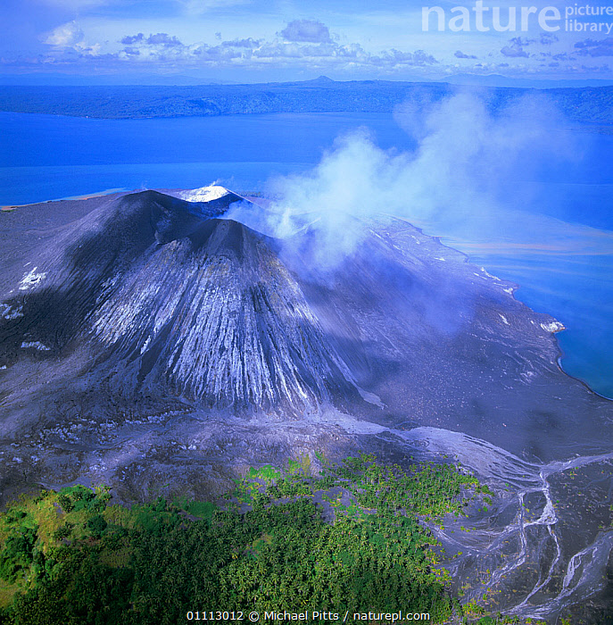 Aerial view of Tuvurvur volcano, East New Britain, Papua New Guinea  ,  AERIAL,STEAM,PAPUA NEW GUINEA,ASIA,LANDSCAPES,LANDSCAPE,COASTS,VOLCANOES,SOUTH EAST ASIA,VERTICAL,Geology ,AERIALS,WEST-AFRICA,NEW GUINEA,Africa  ,  Michael Pitts