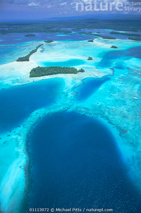 Aerial view of outlying islands, Central Province, Solomon islands, Melanesia  ,  AERIALS,CORAL REEFS,LANDSCAPES,OCEANIA,PACIFIC OCEAN,VERTICAL,TROPICAL,Marine,MELANESIA  ,  Michael Pitts