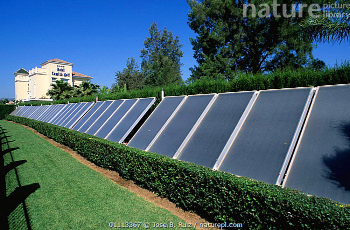 Solar panels in garden provide energy for hotel, Malaga, Spain  ,  BUILDINGS,TOURISM,EUROPE,PANEL,INTERESTING  ,  Jose B. Ruiz