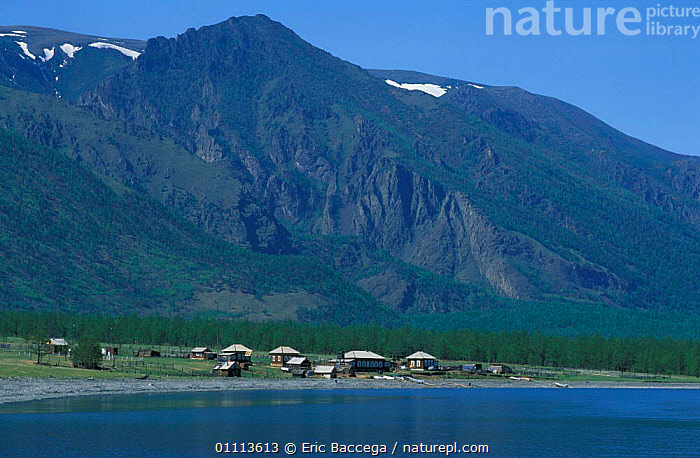 Fishing community on shores of Lake Baikal in summer, Siberia, Russia  ,  BUILDINGS,HUT,HUTS,LAKES,LANDSCAPE,LANDSCAPES,VILLAGES ,RUSSIA,CIS  ,  Eric Baccega