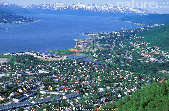 Aerial view of Tromso, Norway.  ,  SCANDINAVIA,LANDSCAPES,CITIES,COASTS,FJORD,AERIAL,AERIAL,APPROACHING,ARCTIC,TOWNS ,AERIALS,Europe, Scandinavia  ,  Eric Baccega