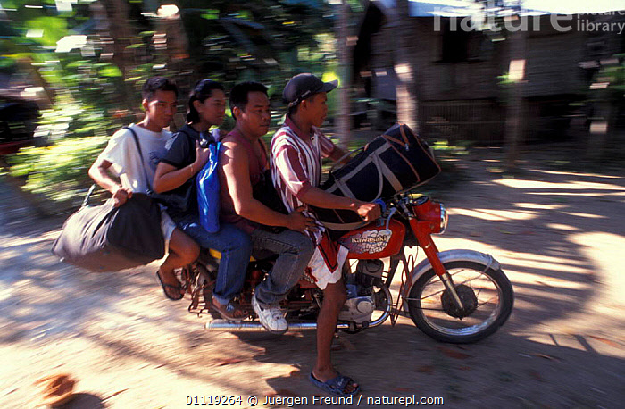 The only transportation on the island is the 'skylab' motorcycle, Handumon, Bohol,  ,  LANDSCAPES,ASIA,CALLED,TRADITIONAL,FOUR,TRANSPORT,VEHICLES,GROUPS,FILIPINO,PEOPLE,SOUTH-EAST-ASIA  ,  Jurgen Freund