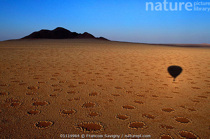 Balloon shadow over Namib Rand NP with 'fairy rings', Namibia  ,  RING,MYSTERIOUS,AERIAL,CENTRE,LANDSCAPES,LEISURE,MYSTERY,SOIL,DESERTS,SOUTHERN AFRICA,RESERVE ,AERIALS  ,  Francois Savigny