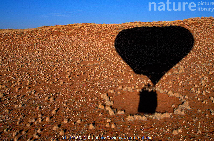 Balloon shadow over Namib Rand NP with 'fairy ring', Namibia  ,  RINGS,CENTRE,LANDSCAPES,LEISURE,AERIAL,DESERTS,RESERVE,SOIL,MYSTERIOUS,CAUSE,MYSTERY,SOUTHERN AFRICA ,AERIALS  ,  Francois Savigny