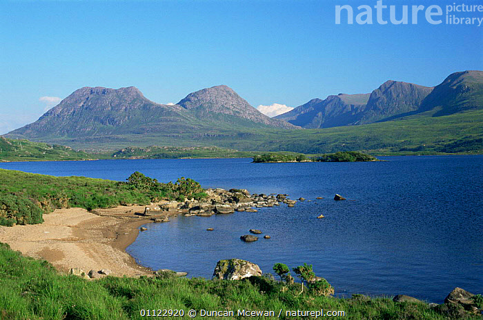 Loch Bad a' Ghall and Coigach mountains, Wester-Ross, Scotland, UK  ,  EUROPE,HIGHLANDS,LAKES,LANDSCAPES,MOUNTAINS,SCOTLAND,SUMMER,UK,United Kingdom,British  ,  Duncan Mcewan